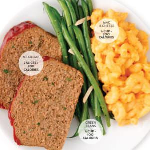 meatloaf_mac and cheese_green beans_100 calorie portion cookbook