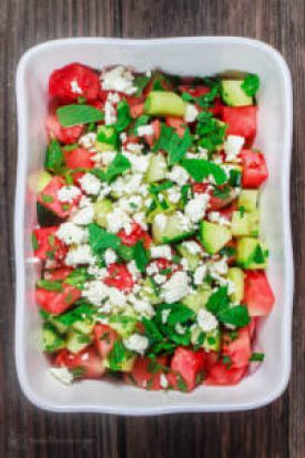 Watermelon Salad, photo credit to The Mediterranean Dish