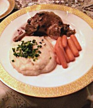 Duck confit, celery root puree and carrots