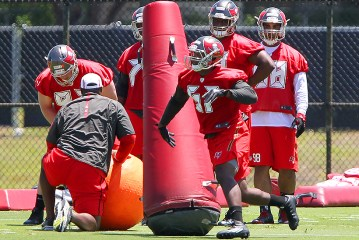 07 MAY 2016: 2016 second round pick Noah Spence of Eastern Kentucky via Ohio State goes thru drills during the Tampa Bay Buccaneers Rookie Camp at One Buccaneer Place in Tampa, Florida. (Photo by Cliff Welch/Icon Sportswire)