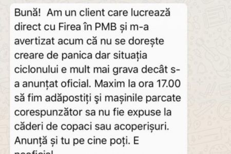 Gabriela Firea dezminte un mesaj pe WhatsApp care anunta ca furtuna din seara aceasta va fi mult mai puternica decat se anunta