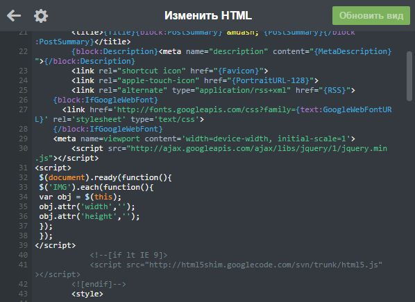 Скриншот отредактированного HTML-кода темы Tumblr-блога