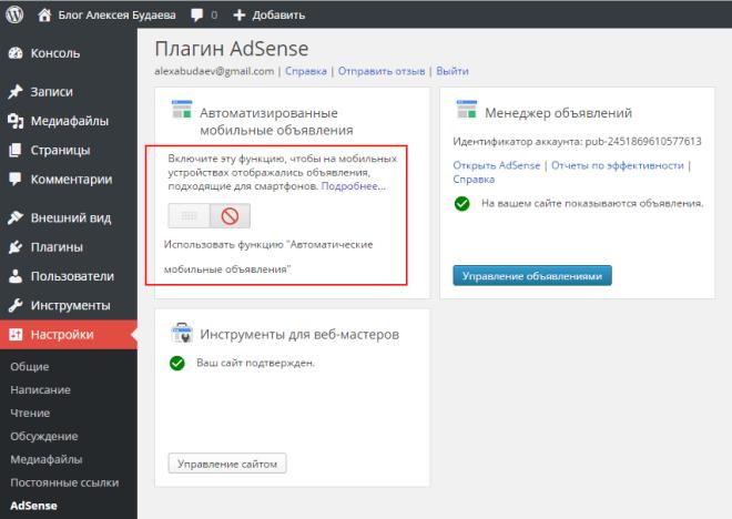 Скриншот настроек плагина Google AdSense для WordPress