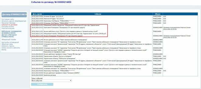 """Скриншот личного кабинета абонента """"Стрелателеком"""""""