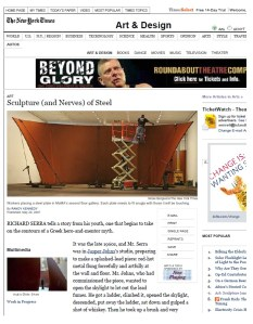 The New York Times article detailing the Richard Serra exhibit we rigged into MoMA.