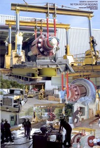 A collage of a 90 ton Siemans Generator Installation.