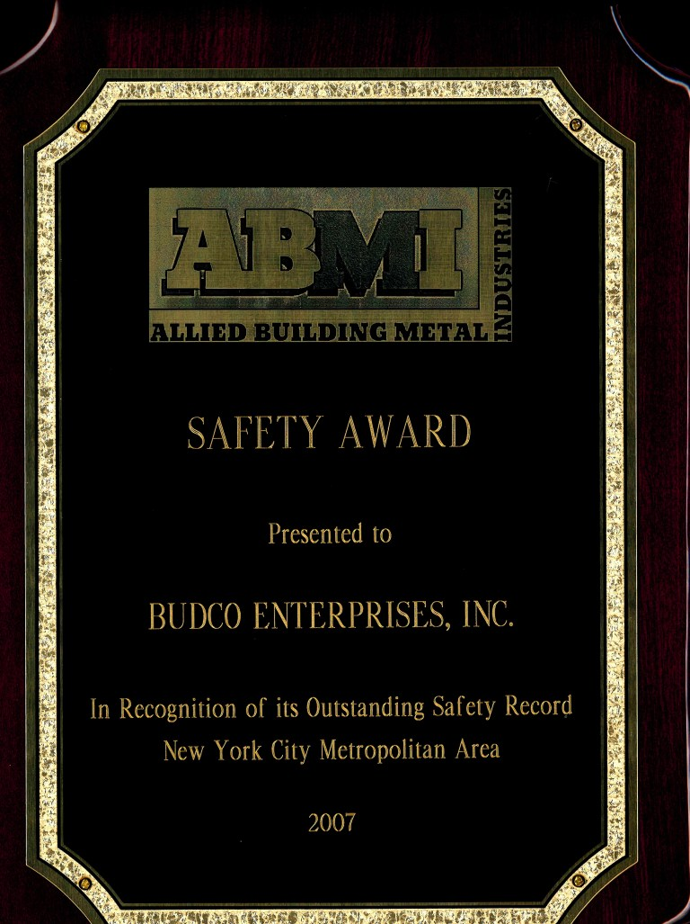 Awarded by Allied Building Metal Industries for Budco's safety record during the 2007 calendar year