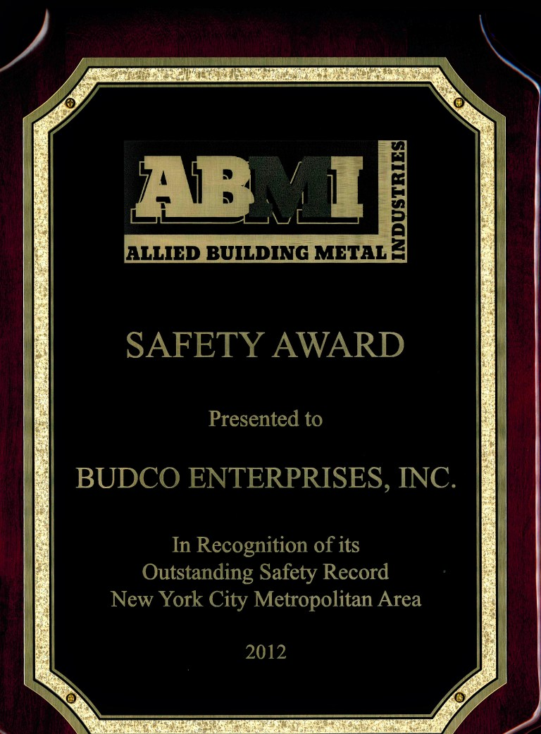 Awarded by Allied Building Metal Industries for Budco's safety record during the 2012 calendar year