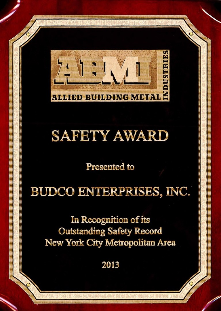 Awarded by Allied Building Metal Industries for Budco's safety record during the 2013 calendar year