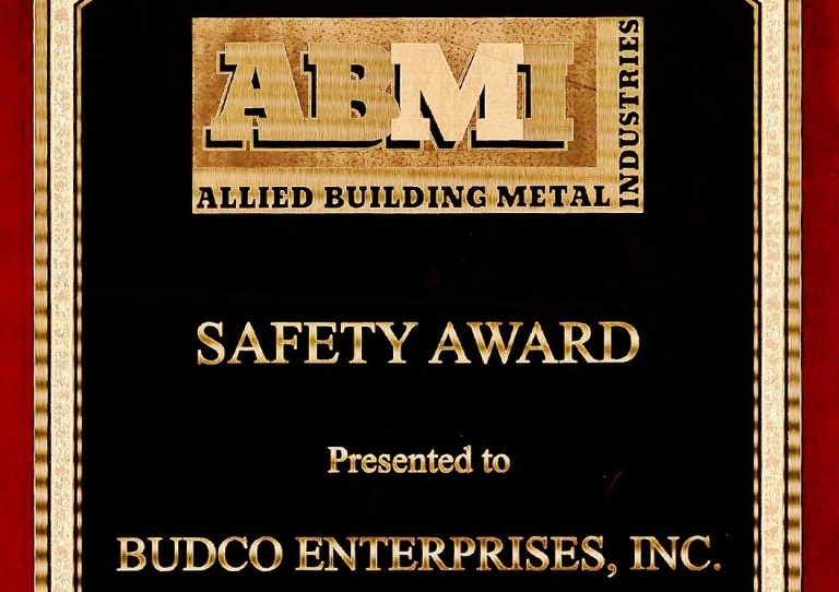 Awarded by Allied Building Metal Industries for Budco's safety record during the 2015 calendar year