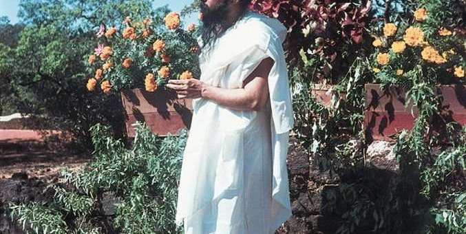 """a young, vibrant Osho """"earthing"""" in the garden"""