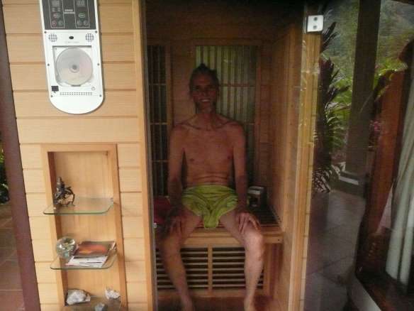 """Anubuddha relaxing in our """"infra-red"""" sauna in Vilcabamba"""