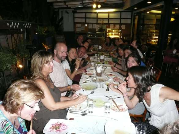"""friends from all the world joined Anasha and Anubuddha on January 1st, 2012, to welcome in the new frequencies with a 2 week """"Deep Cleanse Experience"""". It was totally amazing, and here we are enjoying a meal together. We're going to do it again in 2015!"""
