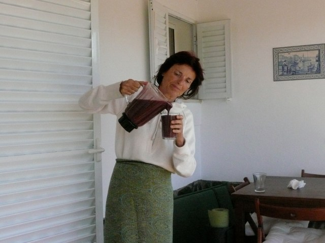Anasha with Berry / Green Smoothie on the beach in Portugal, 7 years ago...