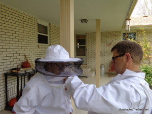 Dad suiting up to look at the bees this spring. This is one of the last pictures I have of him.