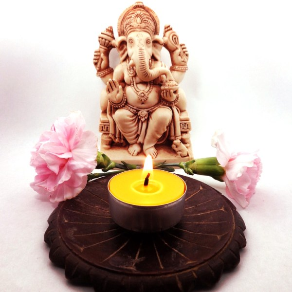 Metal Tealight with Ganesh