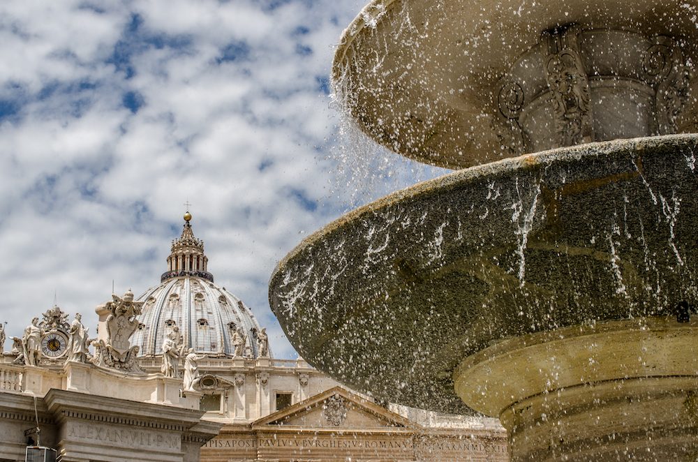 St. Peter Basilica from the fountain in Rome Italy, photo by Jenny Adams-0852