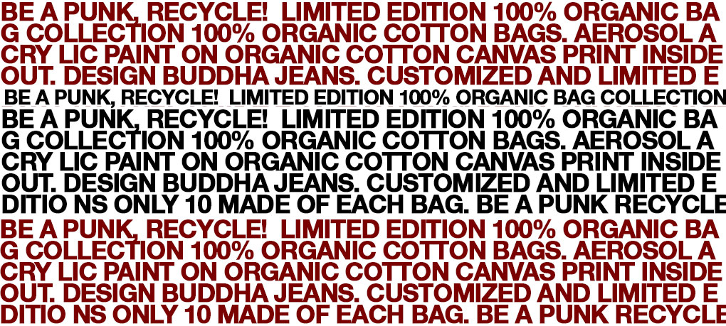 Be a punk, recycle! limited edition 100% organic bag collection
