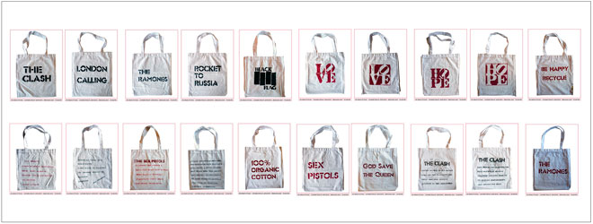 We give away 5 customized organic cotton bags every month
