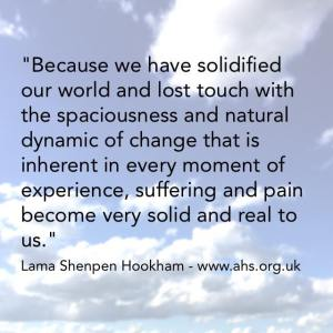 Buddhist quote solid world for Leeds meditation group