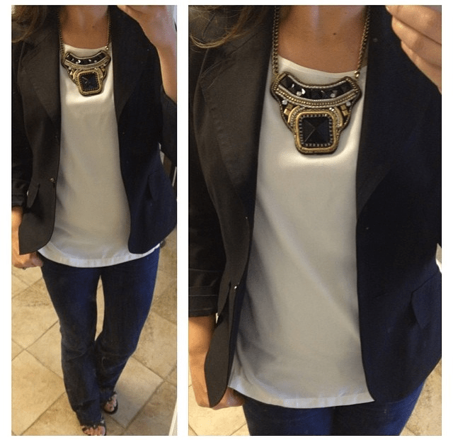 blazer: The Limited // necklace: Charlotte Russe // top: Forever 21 // jeans: Banana Republic // wedges: Franco Sarto c/o T.J. Maxx