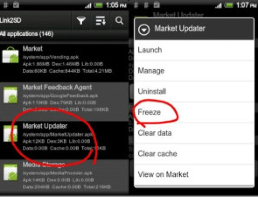 disable android market updates
