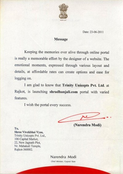 Appreciation letter from Narendra Modi