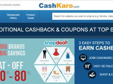 Save Money on online shopping using CashKaro
