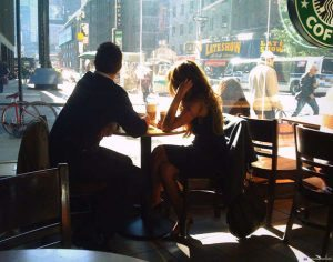 girl and boy in cafe