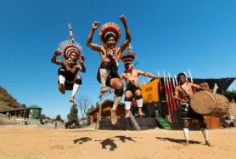 Zeliang Naga Tribesmen of Nagaland, India rehearsing their traditional dance during Hornbill Festival on 10th Dec 2014.