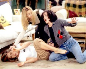 "NBC103 1/9/96 -- ""FRIENDS"" - 'The One After the Superbowl' Part I and Part II -- TELECAST DATE: Sun., Jan. 28 (10-11p.m. ET) --- PICTURED: Jennifer Aniston, Lisa Kudrow, Courteney Cox --- 'FRIENDS' NO MORE? --- Phoebe (Kudrow) has to mediate between Monica (Cox) and Rachel (Aniston) when a fisticuffs breaks out between the two over who gets a date with hunky movie star Jean-Claude Van Damme (not pictured). -- NBC PHOTO: Joey Del Valle."