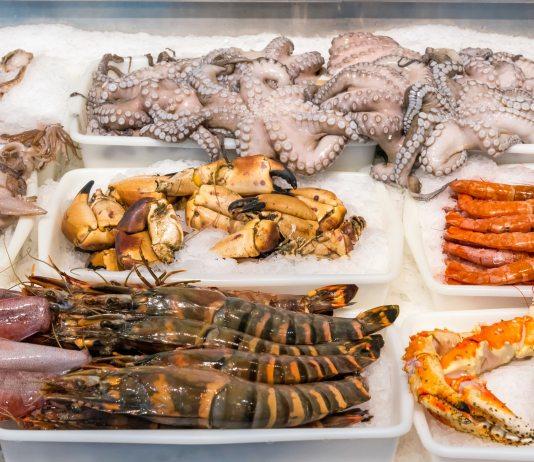 Shellfish and seafood at a market