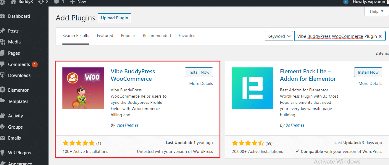 vibe BuddyPress Woocommerce plugin