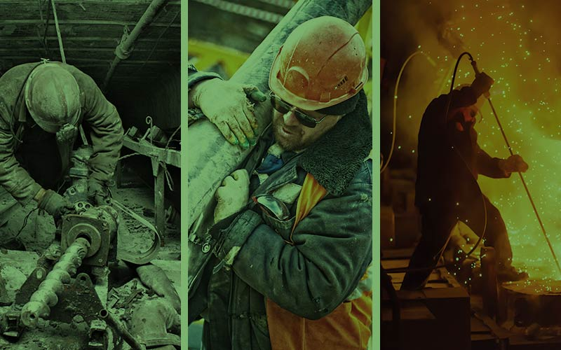 A mix of different workers in various industries