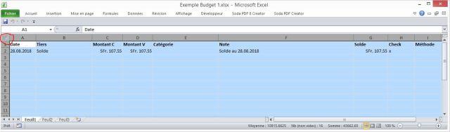 Bouton Excel pour selectionner toute la feuille budget