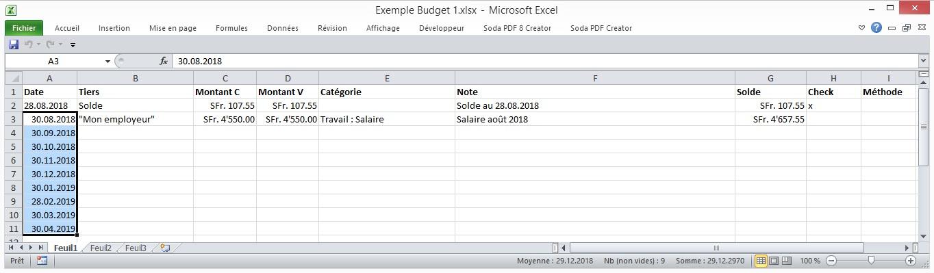 nouvelle entree salaire dans excel pour le budget
