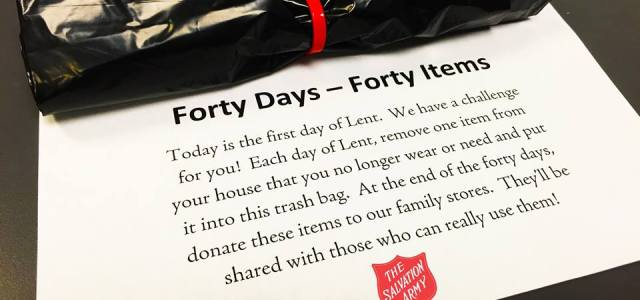 Donate to the Salvation Army for Lent: 40 Days, 40 Items
