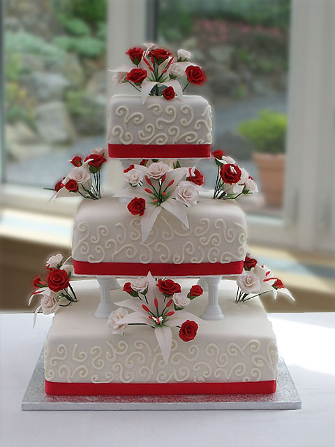 WEDDING DESIGN  Red And White Wedding Cakes Red And White Wedding Cakes