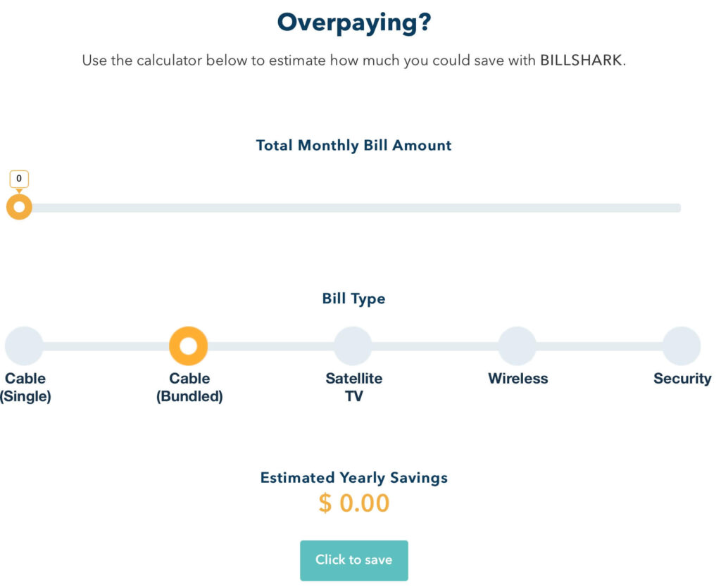 Bill Shark Savings Calculator