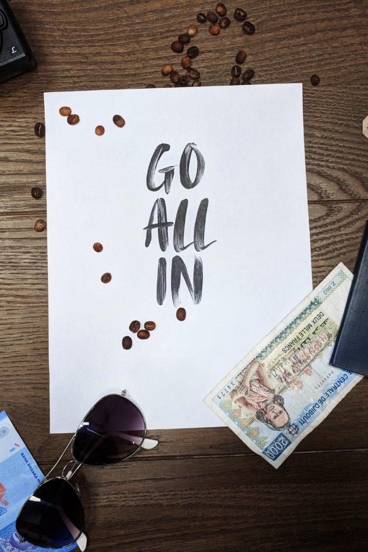 go all in written on paper