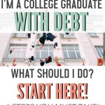 You are a new grad ready to take on the world, but you are saddled with student loans, what do you do? If you are a college graduate with debt, these are the six steps you should be taking to head down a healthy financial path. Being in debt can be scary. Don't panic, just follow these steps to get out of debt and start living your dream life #collegegraduate #newgrad #debt #debtpayoff #freeprintables