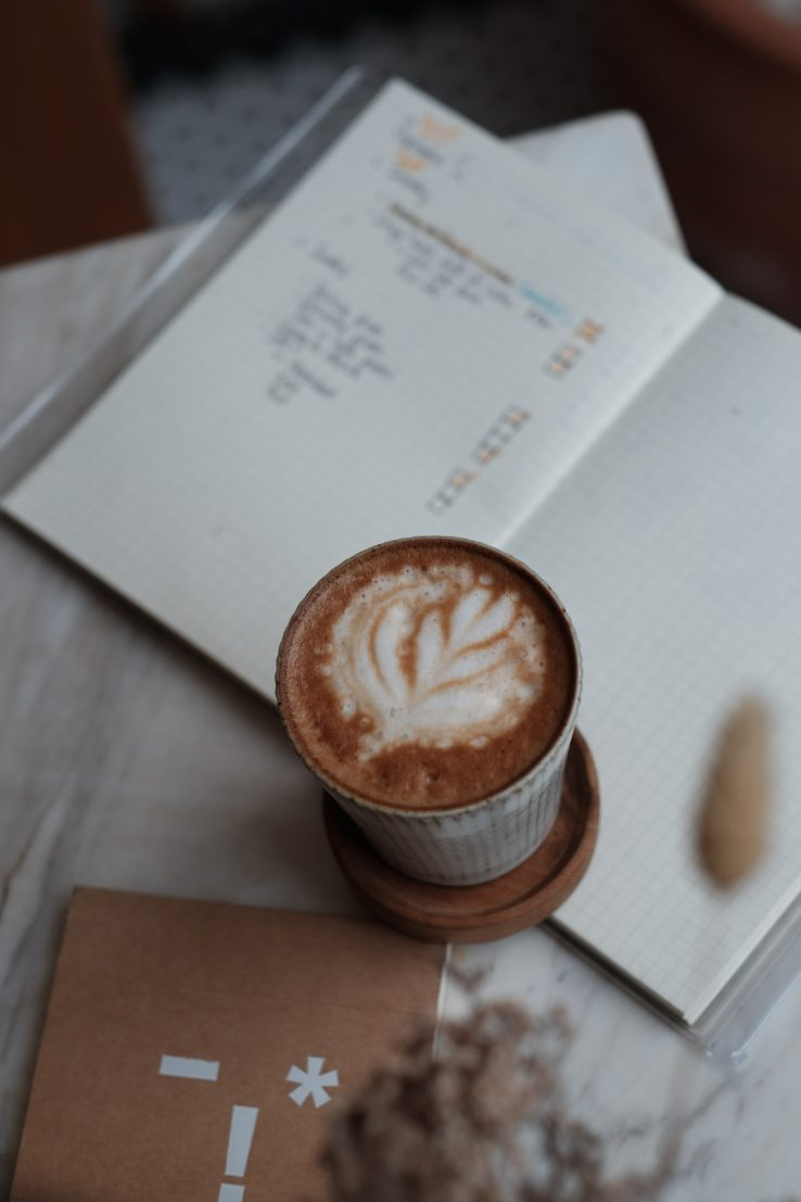 cappuccino on top of books