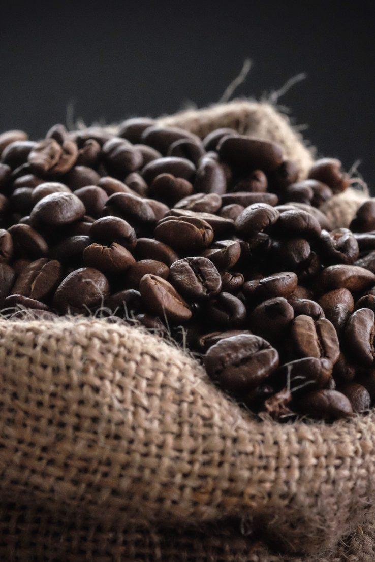 Bag full of coffee beans