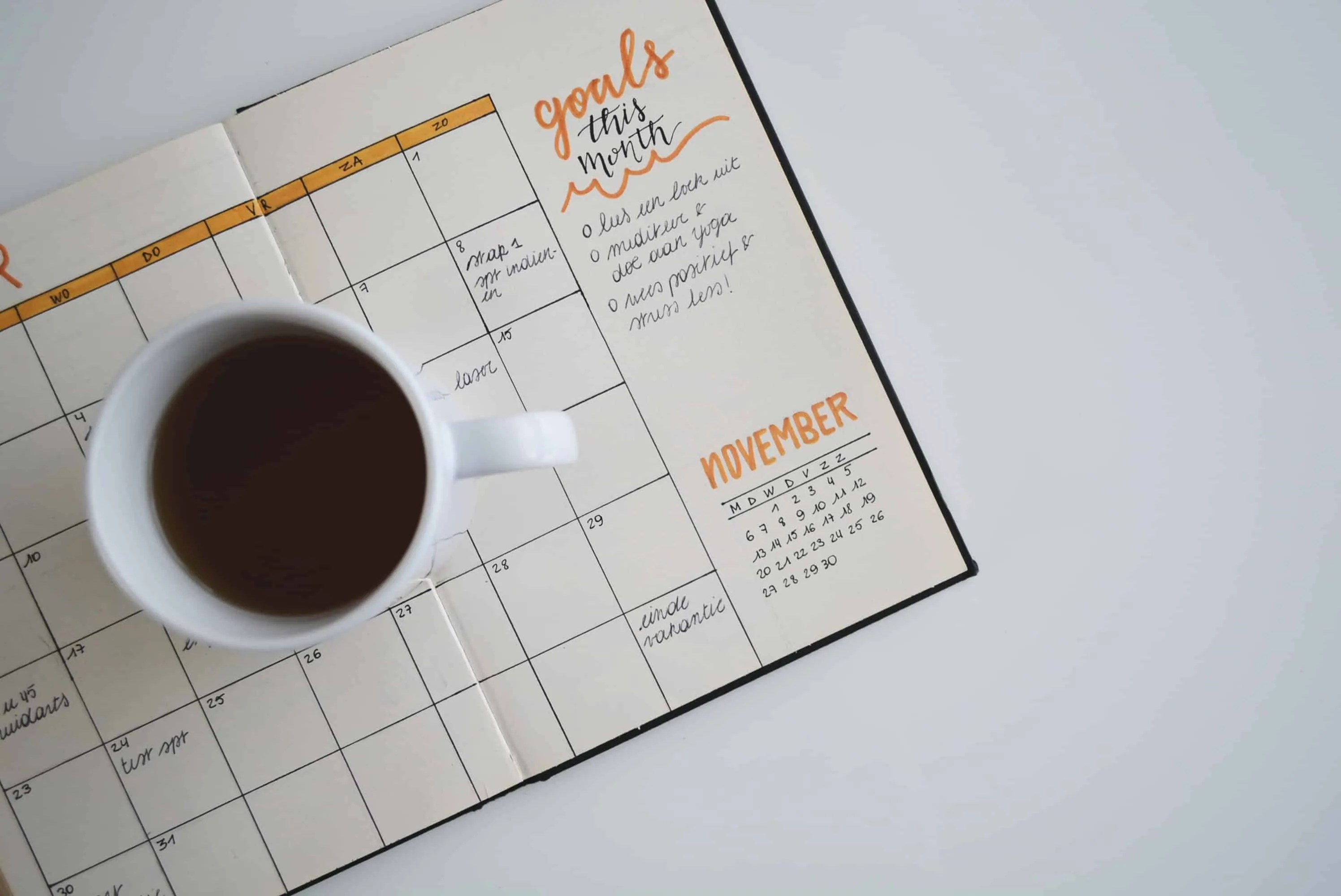 cup of coffee on a notebook