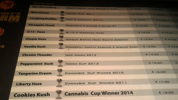 Barney's menu coffeeshop weed 2016 february