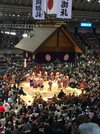 Watching Sumo in Osaka