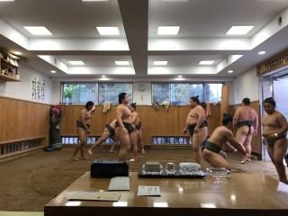Sumo training in Tokyo.
