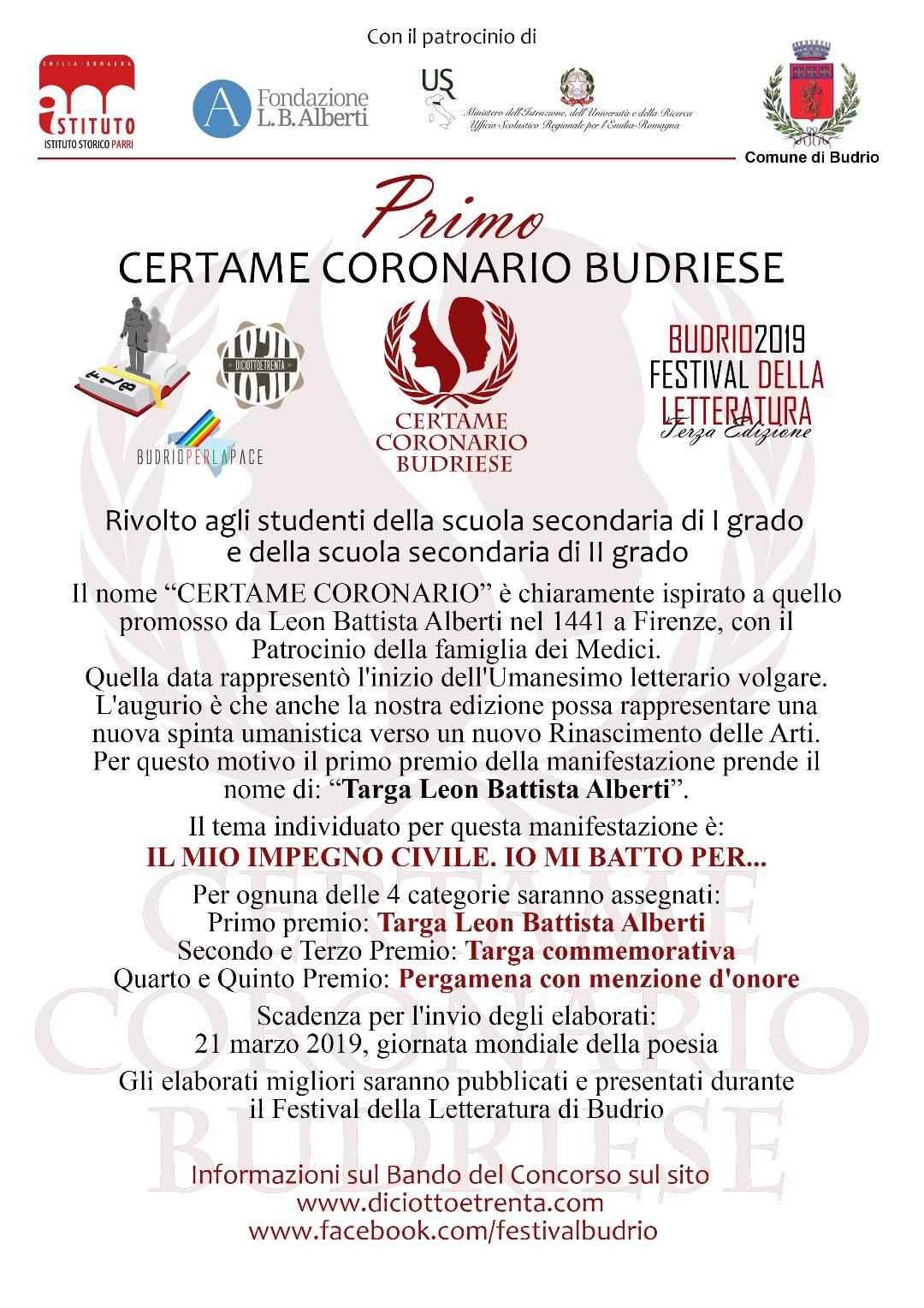 Certame Coronario Budriese, concorso di poesia e narrativa breve