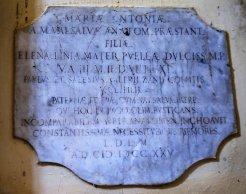 La lapide, posta all'interno della Chiesa San Marco, dedicata ad Antonio Maria Valsalva e alla figlia.