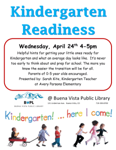 Kindergarten Readiness @ Buena Vista Public Library | Buena Vista | Colorado | United States